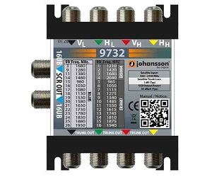 9732 - Мультисвитч DSCR каскадируемый 4 SAT вх, 2 RF SCR вых (32 абонента)